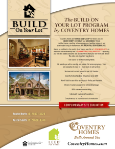 Coventry Homes Build on Your Lot Program